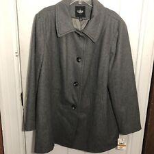 London Fog Jacket Tower Womens Size 3X Gray Winter Coat Wool Blend $180