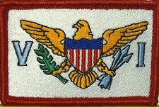 US VIRGIN ISLANDS Flag Embroidered Iron-On Patch Shoulder Emblem Red Border #4