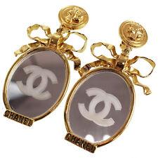 Chanel cc Specchio Nastro Orecchini Raro Clip-On Oro Vintage Autentico #H751 M
