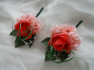 2  Peach Rose Corsage Buttonhole Wedding Flowers Artificial