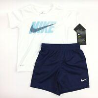 Nike Toddler Boys Dri-Fit Two Piece Tee Shirt+Shorts Set Binary Blue Size 3T NEW