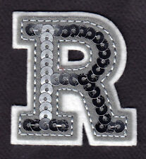 """LETTERS - Silver  Sequin  2"""" Letter """"R"""" - Iron On Embroidered Applique"""