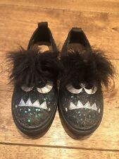Mini Miss KG Kurt Geiger Girls Black Faux Fur Glitter Monster Trainers Shoes 11