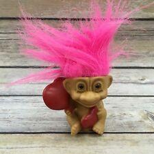 "Vintage 1992 Russ Berrie Pink Red Heart Troll Doll Figurine 3"""