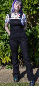 Run & Fly   Black Twill  stretch  skinny 70's style flared Dungarees