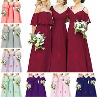HOT Stock New Long Chiffon Bridesmaid Prom Dresses Formal Evening Party Gown6-20