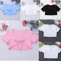 Kids Girls Bolero Short Cap Short Sleeve Shrug Cropped Solid Cotton Cardigan Top