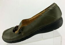 Clarks Unstructured Mary Jane Green Leather Casual Comfort Walking Women Sz 8.5M