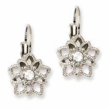 Ladies Silver Tone Crystal Leverback Earrings 1928 Boutique