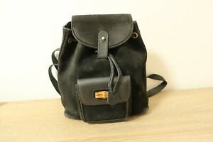 Authentic GUCCI Bamboo Black Leather Backpack #7336