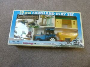 Vintage New-Ray Farmland Play Set 16 Pieces Including Tractor In Original Box