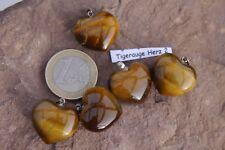 Tigerauge Herz Edelstein Anhänger Herz 2 ca.2cm mit Silberöse