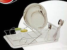 CHROME PLATE DISH CUTLERY CUP DRAINER RACK DRIP TRAY PLATES HOLDER NEW