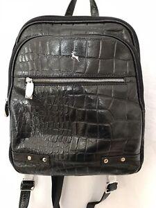 Ashwood Moc Croc Leather Backpack Black