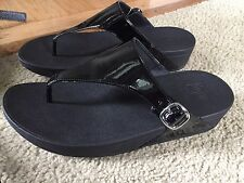Women's FitFlops Black Patent Leather Slide Sandals Silver Buckle Size 11