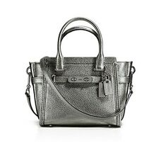 NWT❤️ $350 COACH Leather Swagger 21 Satchel Metallic Gunmetal Silver Black 37444