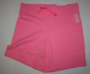 New Justice Girls Bermuda Length Pull On Knit Shorts 10 12 plus yr Neon Pink NWT