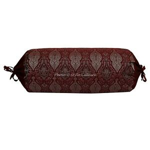 Indian Bolster Pillow Cover Round Cylinder Brocade Decorative Sofa Cushion Cover