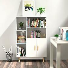 5 Shelves Bookcase Wood Book Storage Cabinet Organizer 2 Door Bookshelf White