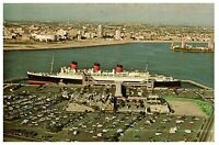 Cunard Line R M S Queen Mary at Long Beach Harbor CA postcard 1970s
