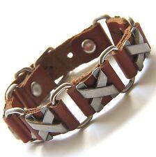Urban Biker Genuine Brown Leather Bracelet & riveted Antiqued Silver X