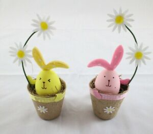 Easter Decoration Bunny in Flower Pot - Yellow OR Pink