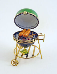 New French Limoges Trinket Box Summer Barbeque Kettle Charcoal Grill w Sausages