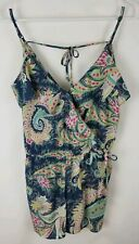 American Eagle Outfitters Womens Small Blue Floral Print Shorts Romper New