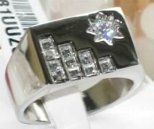 Mens signet ring stainless steel star princess cut solitaire pinky silver 481
