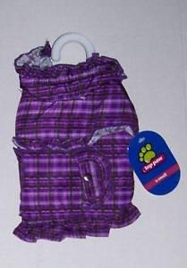 NWT Purple Plaid Ruffle Coat Dog Size XS Extra Small
