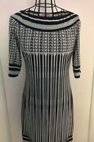 Stunning MAX STUDIO MAX MARA Navy Patterned Tunic Dress Medium 12 14