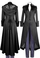 Black Steampunk Gothic Victorian Vamp Pagan Wiccan Corset Long Hood Coat