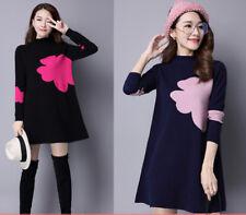 New Women Winter Korean Fashion Elegant Temperament Loose Knitting Sweater Dress