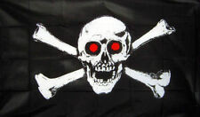 Skull Pirate Jolly Skull And Crossbone Red Eye Socket Large 5Ft x 3Ft Party Flag