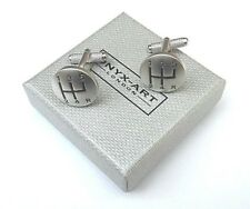CAR GIFT - GEAR STICK Car Drivers METAL Satin Silver Style CUFF LINKS-BOXED-NEW