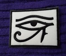 EGYPTIAN EYE of RA HORUS WHITE EMBROIDERED APPLIQUÉ PATCH SEW or IRON ON