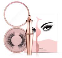 Natural Magnetic False Eyelashes w/Tweezer Eye Lashes Extension Liquid Eyeliner