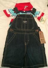 NWT OshKosh Blue Demin Overalls & Short Sleeve Stripe...