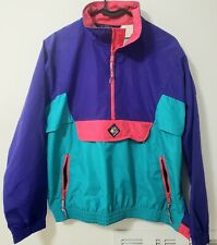 VTG 90s Womens Woolrich Pullover Jacket Neon Blue Pink Sigmet Gear Front Pouch M