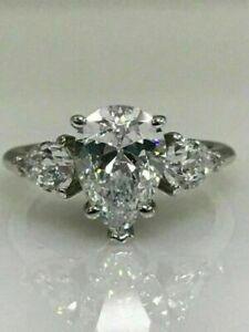4.00 ct Pear Cut Brilliant Diamond Wedding Ring Hallmark 14 Carat White Gold