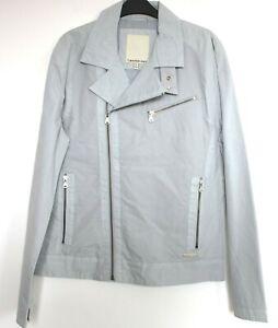 Calvin Klein Jeans Jacket Mens Biker Style Light Grey Size M NWOT
