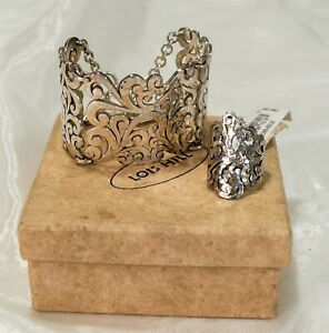 NWT Lois Hill Hand Carved Sterling Silver Ring & Reticulated Bracelet Set