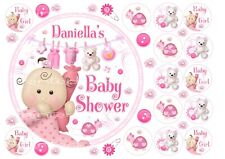 """EDIBLE Personalised Cute Baby Shower Baby Girl Pink 7"""" Cake topper+14 x Cupcakes"""