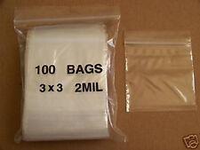 PLASTIC BAG 3x3 zip lock clear small item poly bags 100