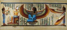"""Pharaoh Isis Winged With Maat  Original Hand Painted Papyrus 32""""X12""""(80x30 Cm)"""