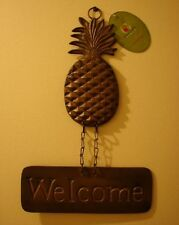 "NEW Home Garden PINEAPPLE WELCOME SIGN Plaque BRONZE ""Nice House Warming Gift"""