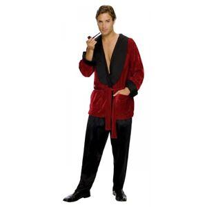 Hugh Hefner Costume Adult Smoking Jacket Playboy Halloween Fancy Dress