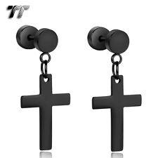 TT Black Surgical Steel Large Cross Dangle Fake Ear Plug Earrings (BE163D) NEW