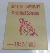 1952-53 SEATTLE U. CHIEFTAINS POCKET SCHEDULE COLLEGE BASKETBALL REDHAWKS UNIVER