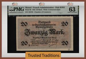 TT PK 6b 1922 MEMEL FRENCH ADMINISTRATION POST WWI 20 MARK PMG 63 CHOICE UNC!
